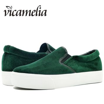 Vicamelia Women Flock Platform Flats Shoes Ladies Velvet Slip On Creeper Slipony Loafers Woman Casual Flats Shoes Moccasins 022