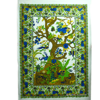 Twin Size White Indian Tree Of life Tapestry Wall Hanging Coverlet