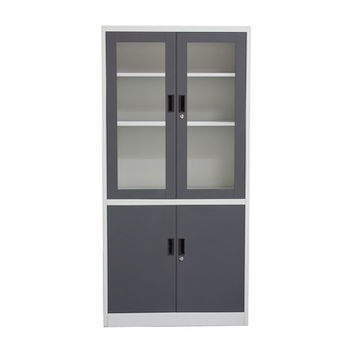 Diamond Sofa 5-Shelf Bookcase with Tempered Glass Door Front and Key Lock Entry In Dark Grey and Off White
