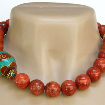 Sponge Coral Necklace Orange Handcrafted Short Gold Tibetan Bead Unique