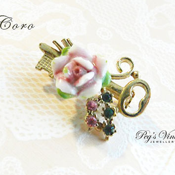 Unique Vintage Coro Rose Flower Pin/Gold Tone Key Shaped Brooch/Pink Porcelain Rose, Emerald Green And Rose Pink Rhinestones