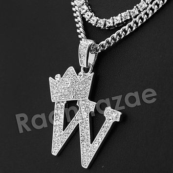 Iced Out King Crown W Initial Pendant Necklace Set.