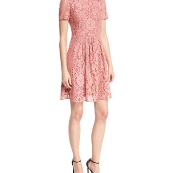 Burberry Short-Sleeve Lace Fit-and-Flare Dress, Antique Rose