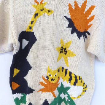 Vintage Cos Cob White Giraffe Zoo Tiger Knit Sweater Graphic Geometric Size Medium Ironic Womens Sweater 80s 90s Hipster Indie Chick Punk