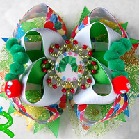 The Very Hungry Caterpillar Boutique Hair Bow , layered bow, stacked bow for girls