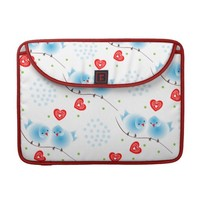 Cute Whimsical Fluffy Blue Love Birds Red Hearts MacBook Pro Sleeves