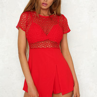 Start Me Up Playsuit Red