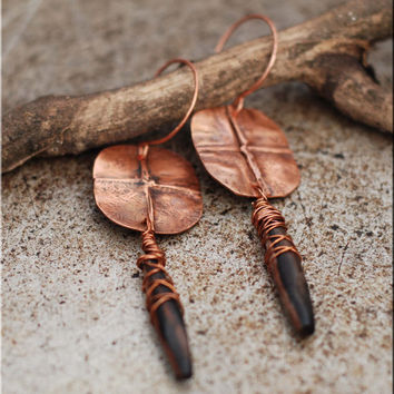 Rustic boho earrings, eco, copper and ebony wood OOAK / Fold formed and wire wrapped earrings
