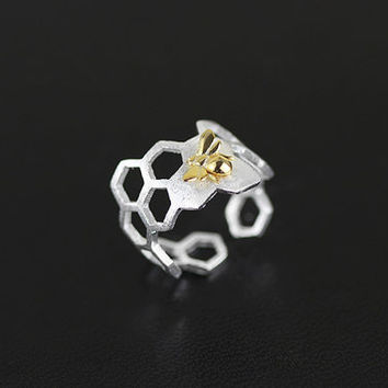 Honeycomb Shape Open Ring Honeybee Charm Sterling Silver Open Ring Gold-filled Open Ring Adjustable Ring Women Ring