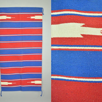 vintage handwoven MEXICAN ZAPOTEC wall hanging saddle blanket southwestern geometric RUG, 30 x 60