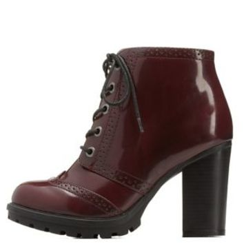 Burgundy Bamboo Wingtip Lace-Up Chunky Heel Booties