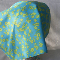 Turquoise Sky Head Kerchief Neck Wrap Scarf Set of Two Lime Turquoise Floral and Ivory Olive Blue
