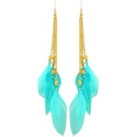 "4 3/4"" 4 Feather Earrings with Acrylic Jewels And Chains In Turquoise with Gold Finish"