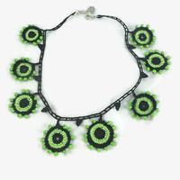 SALE 20% Crochet Necklace Green And Black Crochet Cricle Motifs Necklace - Unique Choker Necklace - Geometric Necklace - Statement Jewelry -