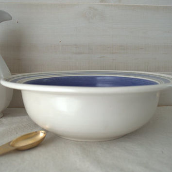 Blue Pfaltzgraff Rio Salad Bowl, Stoneware Mixing Bowl, Large Blue and White Bowl
