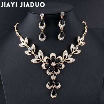jiayijiaduo Hot African female costume Jewelry set for women Gold color Black Red Golde-color Necklace earrings set wedding