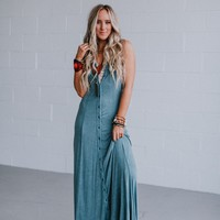 Audrina Washed Button Down Maxi Dress - Blue