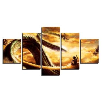 Dragon Ball Z Paintings Goku Ride Shenron Panel Canvas Prints Picture Wall Art