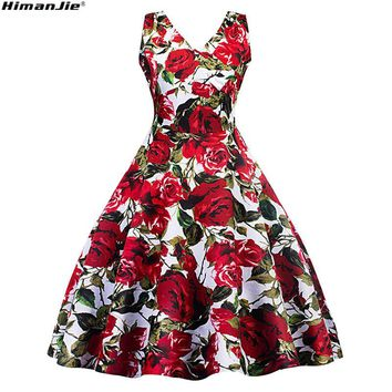 red rose flower print vintage dress v neck spring autumn cotton printed waist swing dress formal party casual retro dresses