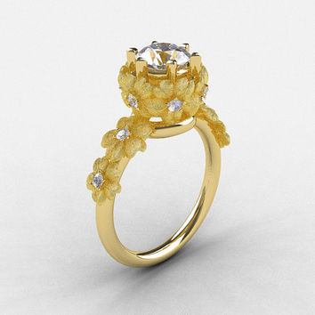 14K Yellow Gold White Sapphire Diamond Flower Wedding Ring, Engagement Ring NN109S-14KYGDWS