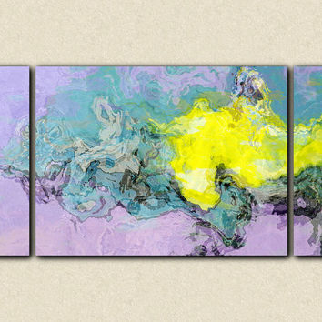 "Abstract expressionism triptych canvas print with gallery wrap, 30x60 in teal, lavender and yellow, from abstract painting ""Around the Bend"""