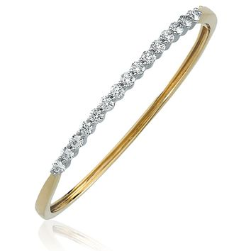14k White and Yellow Gold & Diamond Two Toned Bangle Bracelet