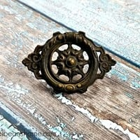 Vintage Brass Drawer Pull Vintage KBC Ring Pull Brown Hepplewhite Pull Decorative Antiqued Brass Drawer Pulls Brown Dresser Hardware