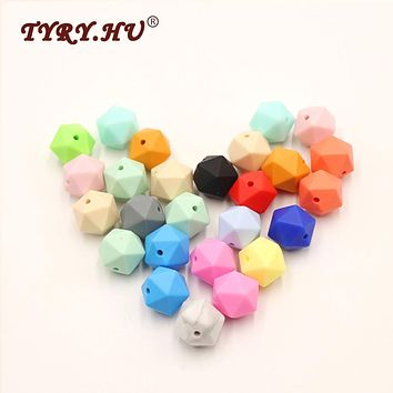 TYRY.HU Baby Teether Beads Icosahedron Teething Relief Silicone Beads Jewelry Necklace Pacifiers Chain Pendants Charms Bracelet