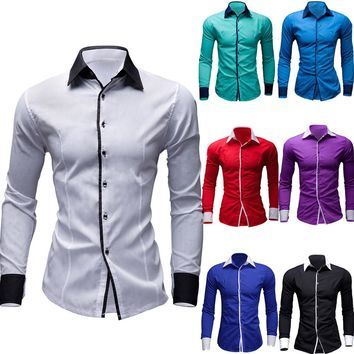 Mens Casual Pure Color Long Sleeve Shirt Business Slim Fit Shirt Printed Blouse
