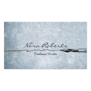 Black White Writers Authors Dip Pen on Blue Paper Business Card