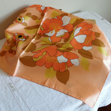 Vintage Floral Print Scarf, 1960's KEYNOTE Headwrap, Made in Italy, Beautiful Fall Colors, Orange Yellow White Flowers Golden Leaves