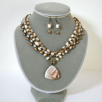 Chocolate Mocha, Caramel, Light Gray and Cream Multi Strand Gemstone Pendant Necklace With Matching Earrings