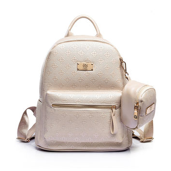 Fashion  Backpack with Purse Bag PU Leather Embossing High Quality