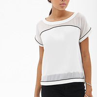 FOREVER 21 Chiffon-Paneled Colorblock Top