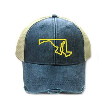 Maryland Hat - Distressed Snapback Trucker Hat - Maryland State Outline - Many Colors Available