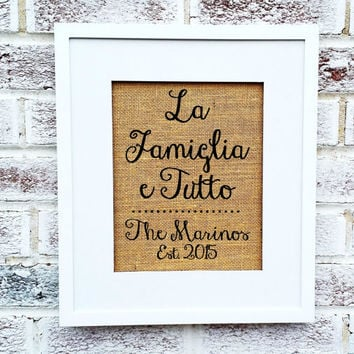 Italy destination wedding sign package,5 burlap prints or burlap prints on wood signs, personalized,in Italian, signs signage decorations