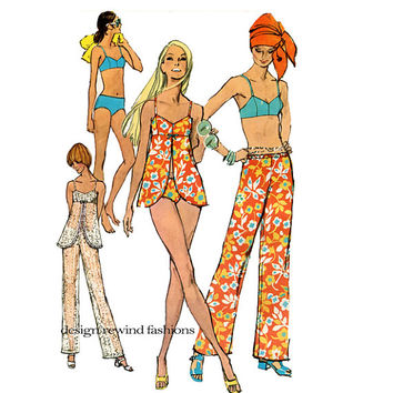 1970s SEXY BATHING SUIT Pattern 2-Piece Bathing Suit Bikini Cover-Up Top & Hip Hugger Pants Size 14 Simplicity  8795 Womens Sewing Patterns