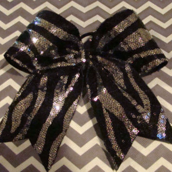 Silver and Black Sequin Cheer Bow