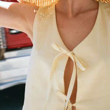 LISA SAYS GAH | Capri Linen Tie Top - Limoncello