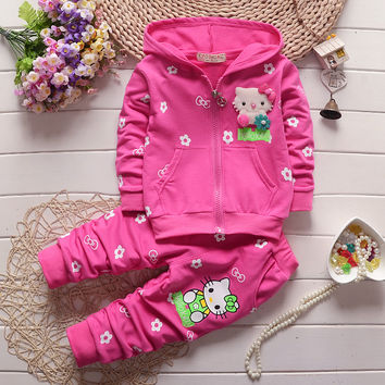 Autumn Baby Girls clothing set children hoodies cotton girls t-shirts and matching pants sport suit