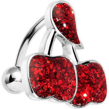 Red Glitter Double Cherry Top Mount Belly Ring