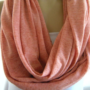 Heathered Salmon  Jersey Infinity scarf Nomad Cowl  scarf  Circle Loop scarf Super soft.