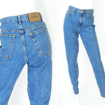 Vintage 90s High Waisted Calvin Klein Women's Jeans - Size 6 - CK Slim Fit Tapered Stone Washed Mom Jeans - 27 Waist
