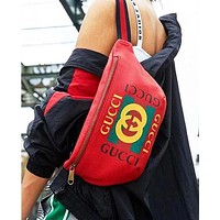 Gucci Fashion Male and Female Letter Printing Hot Selling Belt Zipper Waist bag Bag Red