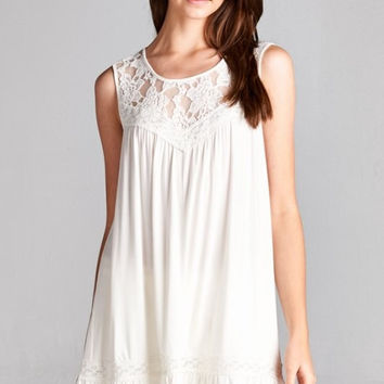 Sleeveless Lace Yoke Top - Off White