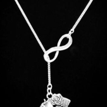 Infinity Gun Pistol I Love Guns Cowgirl Pro Gun Lariat Necklace