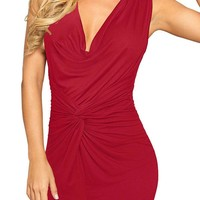 Streetstyle  Casual Red Pleated Bodycon Deep V-neck Sleeveless Elegant Ruched Dress