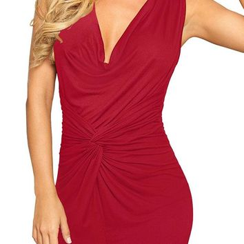 Casual Red Pleated Bodycon Deep V-neck Sleeveless Elegant Ruched Dress
