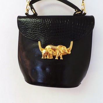 Vintage 90s Sasha Black Leather Handbag Crossbody Purse With Gold Tone Elephants Glam Rocker