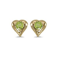 14K Yellow Gold Round Peridot Heart Shaped Earrings